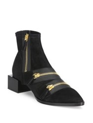Pierre Hardy Lou Zipper Suede Cube Heel Booties Black