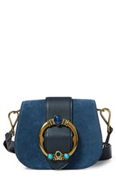 Polo Ralph Lauren Lennox Suede And Leather Saddle Bag Blue Denim Blue