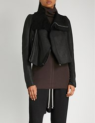 Rick Owens Leather And Shearling Jacket Black
