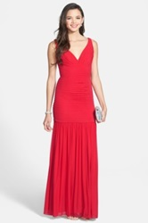 Hailey Logan 'Roxanna' Ruched Illusion Back Embellished Mermaid Gown Juniors Red