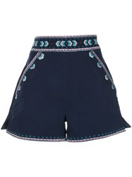 Talitha Embroidered Tailored Shorts Blue