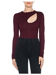 Joe's Jeans Miranda Ribbed Cut Out Top Vin Rouge
