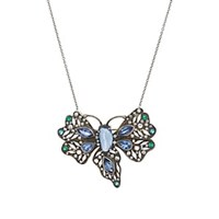 Cathy Waterman Mixed Gemstone Butterfly Necklace White