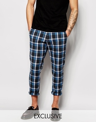 Reclaimed Vintage Cropped Checked Trousers Blue