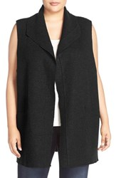 Eileen Fisher Plus Size Women's Boiled Wool Funnel Neck Vest Black