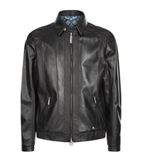 Stefano Ricci Leather Bomber Jacket Male Black
