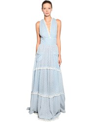 Luisa Beccaria Long Cotton Eyelet Lace Dress Blue White