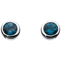 Kit Heath Simmer London Topaz Stud Earrings Silver Blue