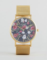 Reclaimed Vintage Floral Print Mesh Watch In Gold Gold