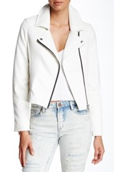 Blanknyc Denim Faux Leather Asymmetrical Zip Jacket Multi