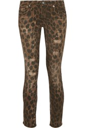 R 13 R13 Kate Distressed Low Rise Leopard Print Skinny Jeans