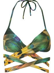 Blue Man Feather Print Halterneck Bikini Top