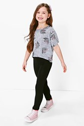 Boohoo Unicorn Tee And Legging Set Grey