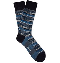 Missoni Crochet Knit Zig Zag Cotton Blend Socks Blue