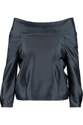 Raoul Greta Silk And Wool Blend Shantung Top Anthracite