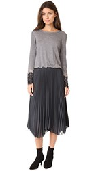 Loyd Ford Long Sleeve Pleated Dress Heather Grey