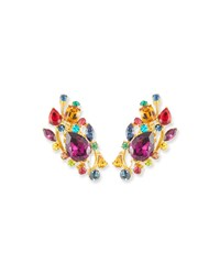 Jose And Maria Barrera Large Multicolor Stone Clip On Ear Climbers
