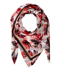 Ivanka Trump Painted Petals Square Poppy Scarves Red