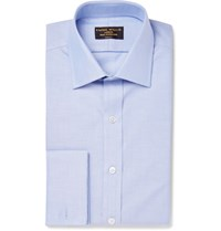 Emma Willis Blue Slim Fit Double Cuff Cotton Oxford Shirt Blue