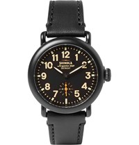 Shinola The Runwell 36Mm Pvd Plated And Leather Watch Black