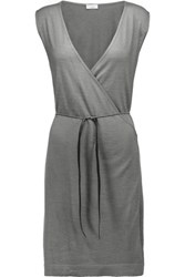 Brunello Cucinelli Wrap Effect Embellished Cashmere And Silk Blend Dress Anthracite