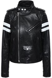Red Valentino Striped Leather Bomber Jacket Black