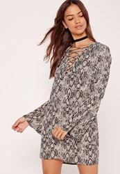 Missguided Lace Up Flute Sleeve Snake Dress Grey Monochrome