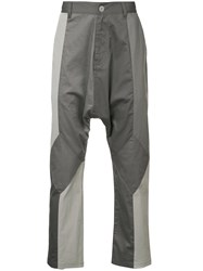 Mostly Heard Rarely Seen Mixed Media Dropped Crotch Trousers Grey