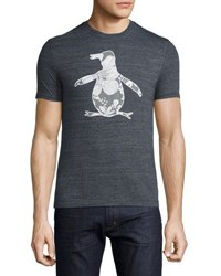 Penguin Floral Print Graphic Jersey T Shirt Gray