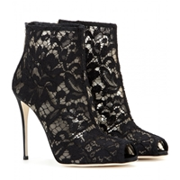 Dolce And Gabbana Lace Peep Toe Ankle Boots Black