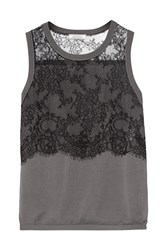 Nina Ricci Lace Trimmed Stretch Jersey Top Gray