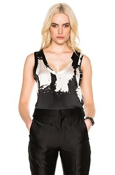 Ann Demeulemeester Printed Tank In Abstract Black Gray Ombre And Tie Dye White Abstract Black Gray Ombre And Tie Dye White