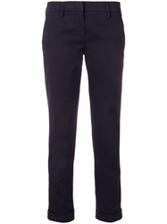 Aspesi Cropped Slim Fit Chinos Blue