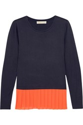 Michael Michael Kors Pleated Crepe And Jersey Top Navy