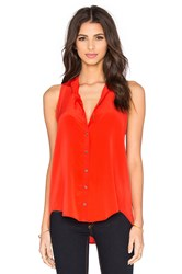 Bella Luxx Pleat Back Button Up Tank Orange