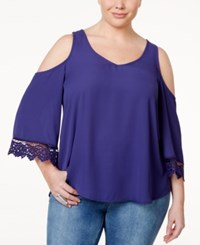 Eyeshadow Plus Size Lace Trim Cold Shoulder Blouse Blue Oasis