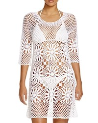 J. Valdi Crochet Flower Tunic Swim Cover Up White