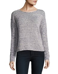 Lord And Taylor Space Dyed Boxy Pullover Evening Blue