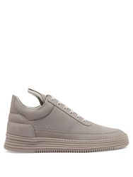 Filling Pieces Low Top Perforated Nubuck Leather Trainers Grey