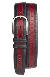 Mezlan Men's Palma Leather Belt Burgundy Black