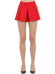 Red Valentino Pleated Cotton Shorts Red