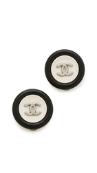 Wgaca Vintage Chanel Acrylic Cc Button Earrings