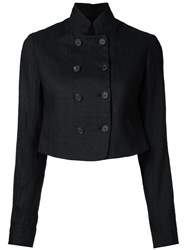 Forme D'expression Double Breasted Cropped Jacket Black