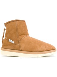 Suicoke Zipped Snow Boots Unisex Suede Wool Rubber Brown