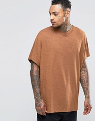 Asos Extreme Oversized T Shirt In Textured Slub With Wide Neck Trim Auburn Brown