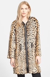 Diane Von Furstenberg 'Brookes' Reversible Silk And Genuine Lamb Fur Jacket Green Leopard