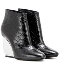 Maison Martin Margiela Embossed Leather Ankle Boots Black