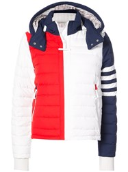 Thom Browne Downfill Ski Jacket With 4 Bar Stripe And Removable Hood In Red