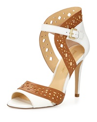 Ivanka Trump Dapoli Studded Leather Sandal Tan White
