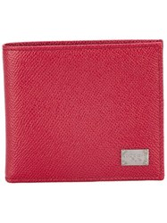 Dolce And Gabbana Dauphine Leather Billfold Wallet Red